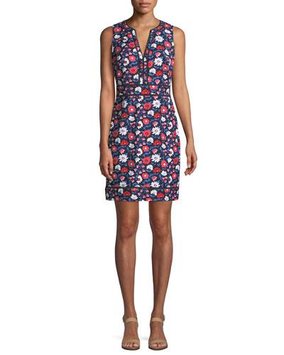 daisy jacquard sleeveless sheath dress