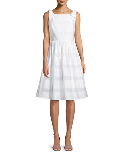chesapeake stripe midi dress w/ bow shoulders