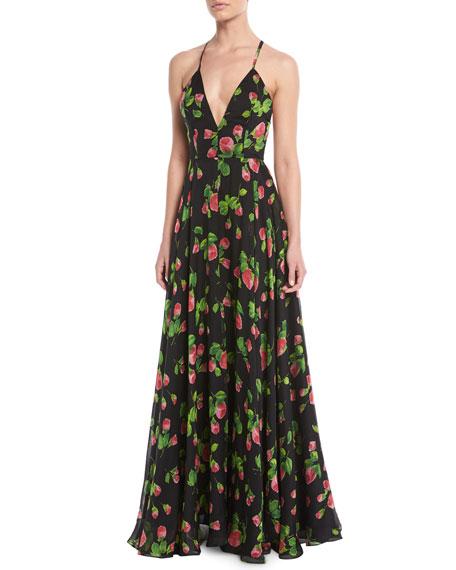 Monroe Strappy Floral-Print Chiffon Gown