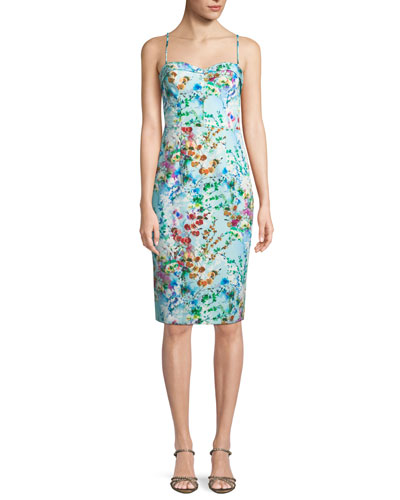 Clover Printed Sheath Slip Dress in