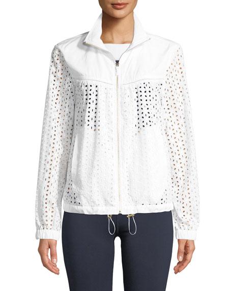 zip-front eyelet anorak jacket