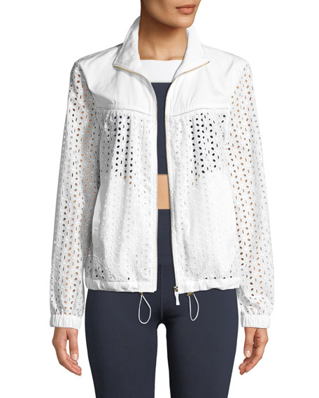 kate spade new york zip-front eyelet anorak jacket