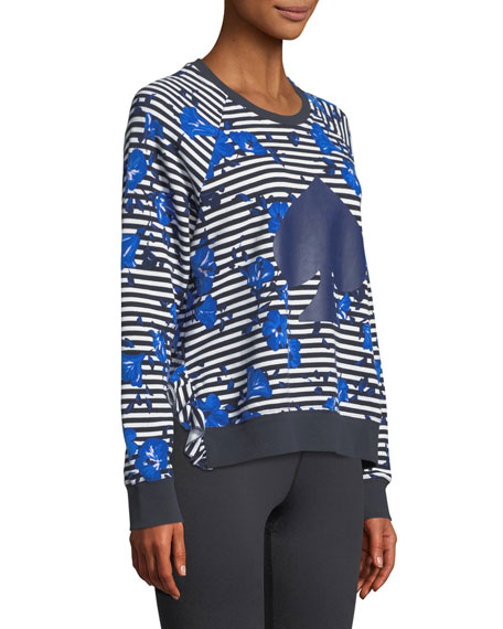 hibiscus striped ruffle pullover