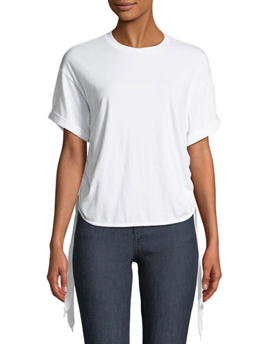 Ruched Side-Tie Crewneck Tee