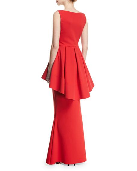 Mavi Sleeveless Gown with High-Low Peplum