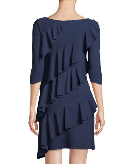 Isete Ruffled 3/4-Sleeve Cocktail Dress