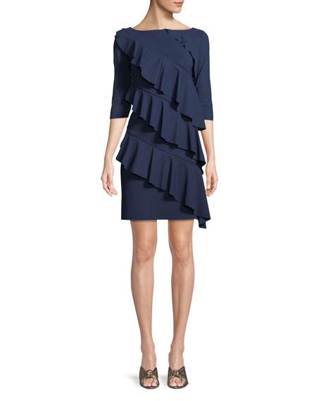 Chiara Boni La Petite Robe Isete Ruffled 3/4-Sleeve