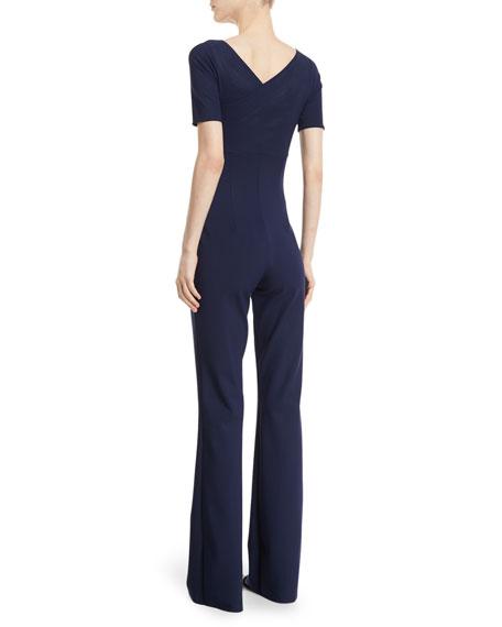 Gala Mock-Wrap Short-Sleeve Jumpsuit