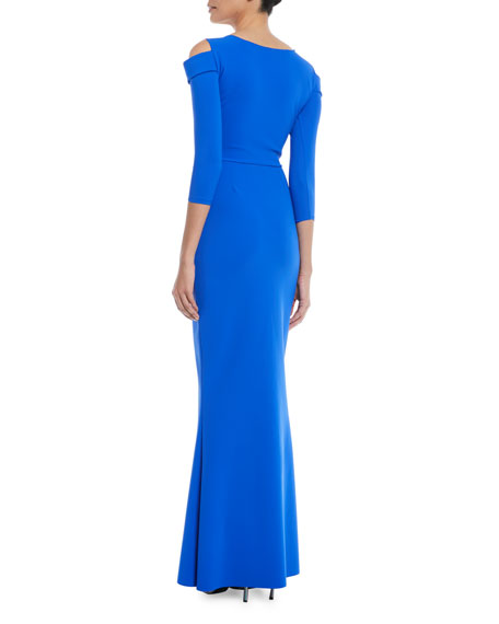 Joselya Cold-Shoulder 3/4-Sleeve Mermaid Gown