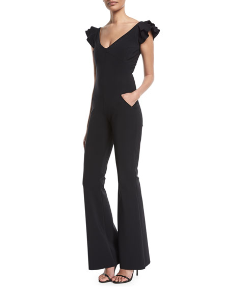 Orelia Ruffle-Shoulder Flare-Leg Jumpsuit