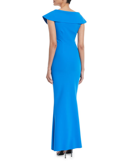 Joanna Mermaid Evening Gown with Wide Collar