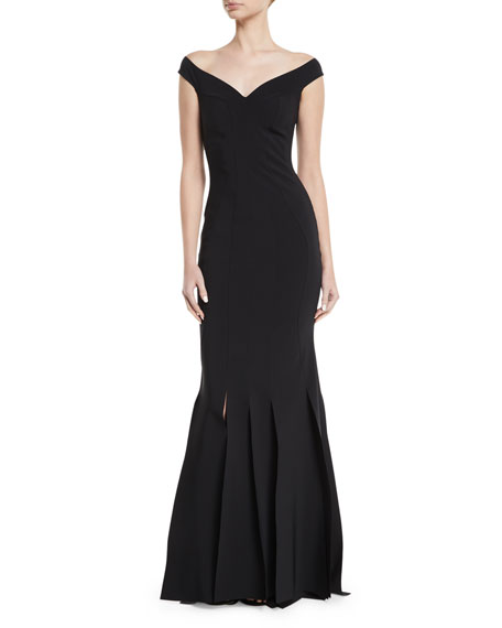 Ezia Off-the-Shoulder Flapper Fringe Gown