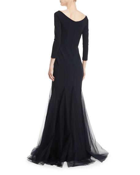 Diva Sheer Godet Mermaid Gown