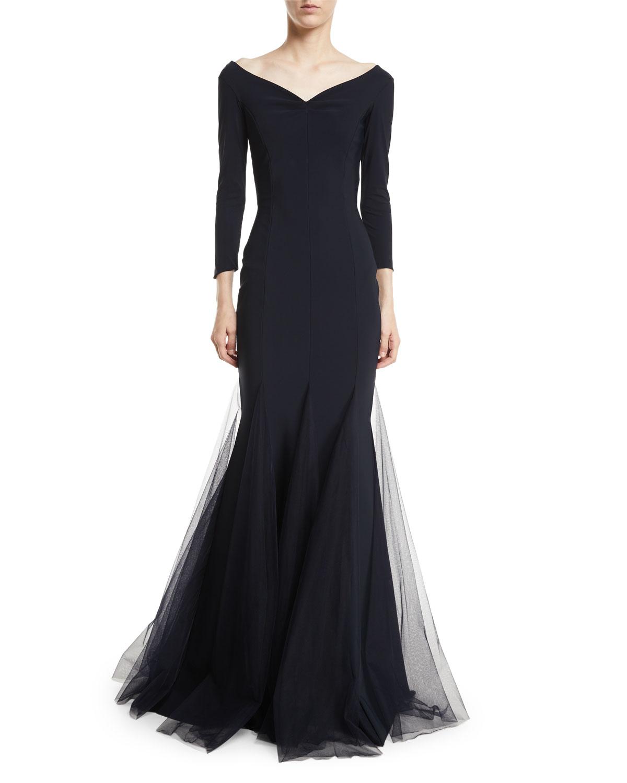 37ec156cfd9 Chiara Boni La Petite Robe Diva Sheer Godet Mermaid Gown