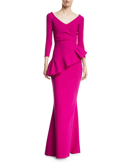 Cicco Mermaid Gown w/ Asymmetric Peplum La Petite Robe Di Chiara Boni Clearance Online Ebay Outlet Cheap Quality Brand New Unisex Cheap Price Best Place Clearance Low Shipping V510bwGe