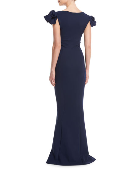 Belvis V-Neck Rosette-Sleeve Gown