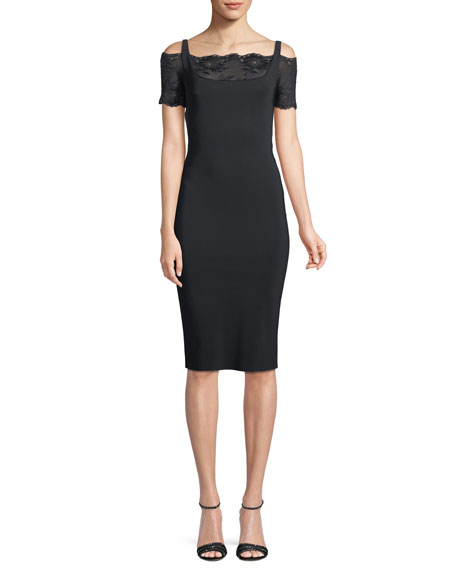 Gladys Lace-Yoke Cold-Shoulder Dress