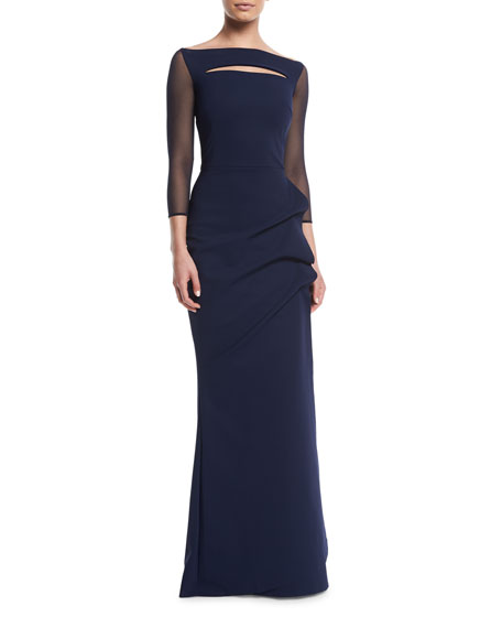 Kate Illusion Gown w/ Front Cutout
