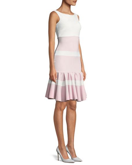 Sounia Colorblock Flounce-Hem Dress
