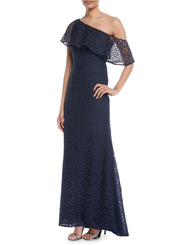 Carmen Marc Valvo One-Shoulder Popover Lace Gown | Neiman Marcus