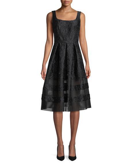 Carmen Marc Valvo Brocade Fit-&-Flare Dress w/ Mesh