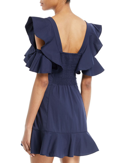 Ruffle-Sleeve Button-Up Mini Dress
