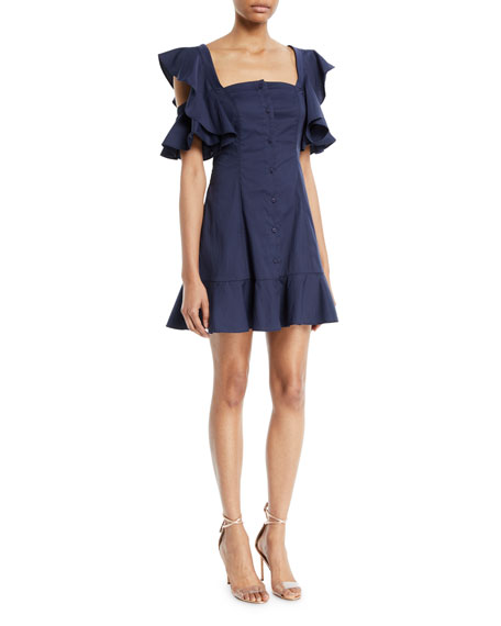 Kendall + Kylie Ruffle-Sleeve Button-Up Mini Dress