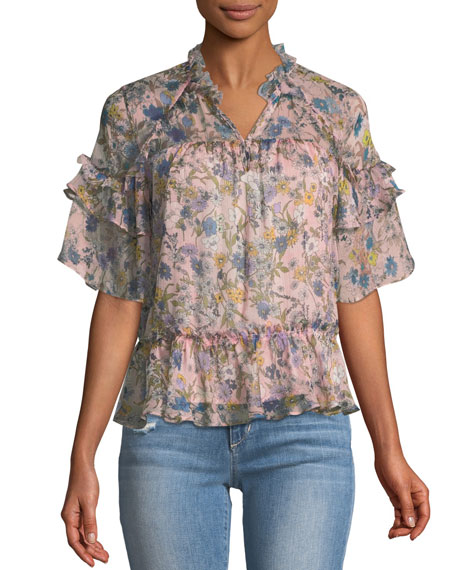 Short-Sleeve Floral Ruffle Blouse