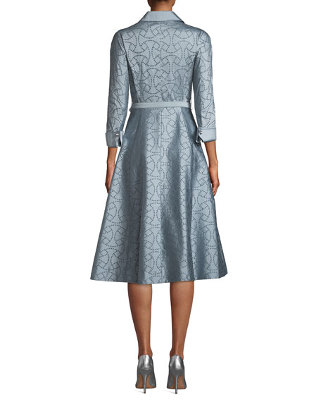Eyelet Taffeta Midi Shirtdress