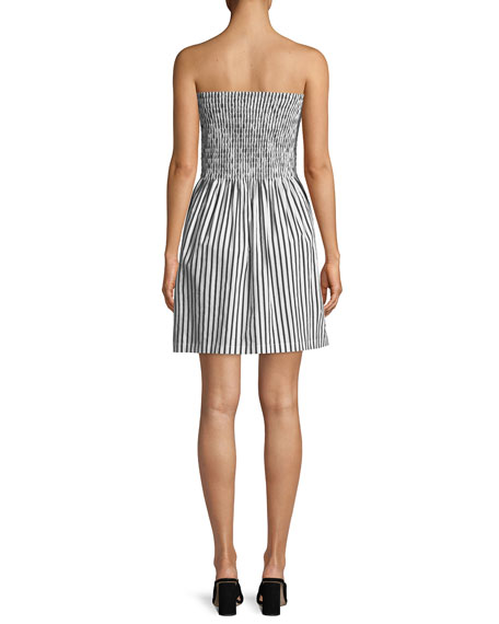 Striped Poplin Strapless Mini Dress