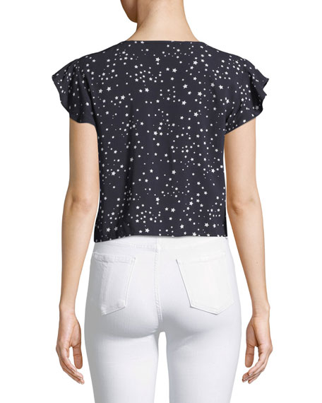 Bellfield Tie-Front Dot-Print Top
