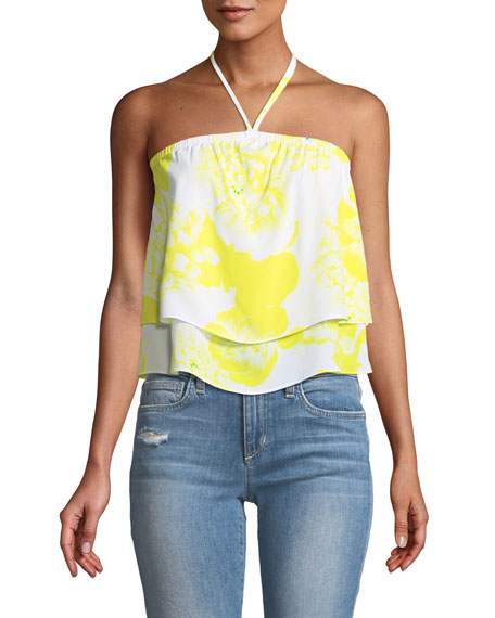 Cupcakes and Cashmere Bergman Halter Floral-Print Tie-Dye Top