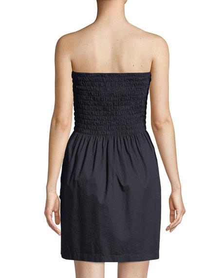 Smocked Poplin Strapless Mini Dress
