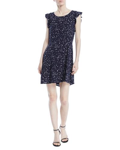 Dolores Crewneck Sleeveless Cutout-Back Star-Print Mini Dress