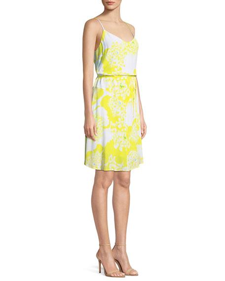 Dayen V-Neck Sleeveless Tie-Waist Floral-Print Short Dress