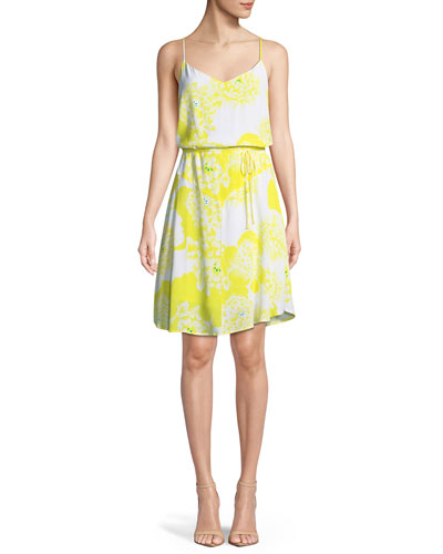 Dayen V-Neck Sleeveless Tie-Waist Floral-Print Short Dress