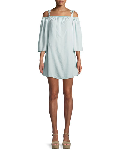 Dora Cold-Shoulder Long-Sleeve Chambray Mini Dress