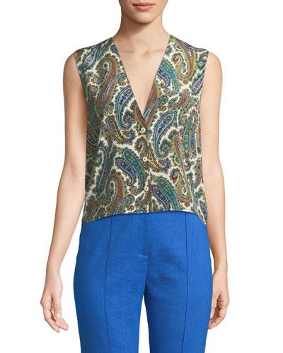 Paisley-Print Silk Sleeveless Top