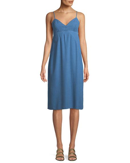 Double Layer V-Neck Chambray Cami Dress