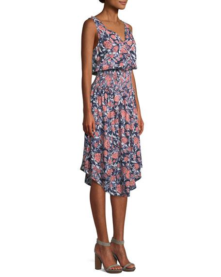 Sleeveless Floral Smocked-Waist Midi Dress