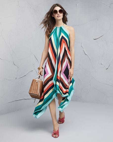 Gia Scarf-Hem Silk Midi Dress
