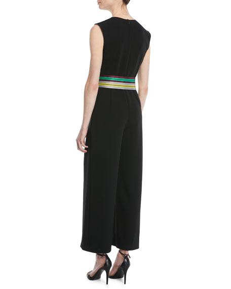 Sleeveless Straight-Leg Belted Jumpsuit