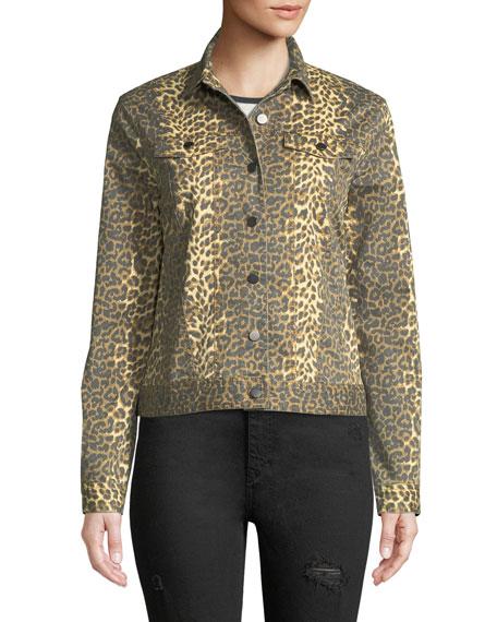 Leopard-Print Button-Front Denim Jacket