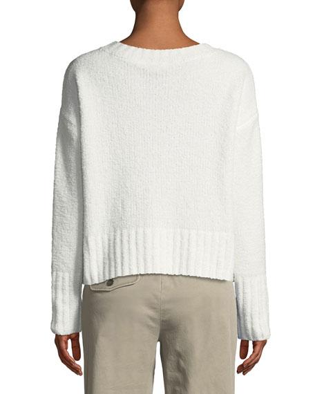 Chenille Pocket V-Neck Pullover Sweater