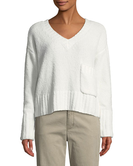 ATM Anthony Thomas Melillo Chenille Pocket V-Neck Pullover