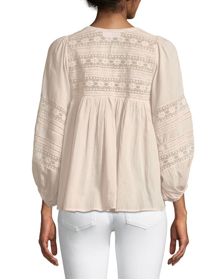 Evie Lace Blouson-Sleeve Top