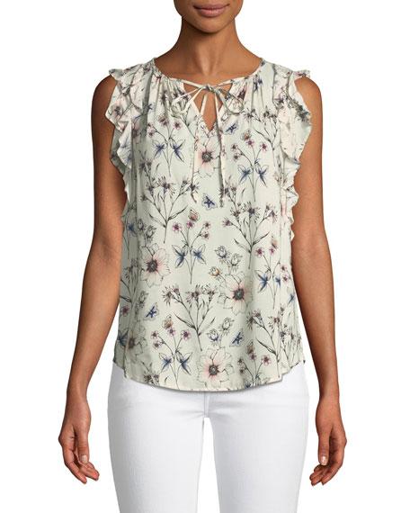 Marisol Flutter-Sleeve Floral Top