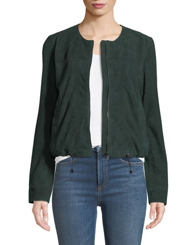Suede Collarless Zip-Front Jacket