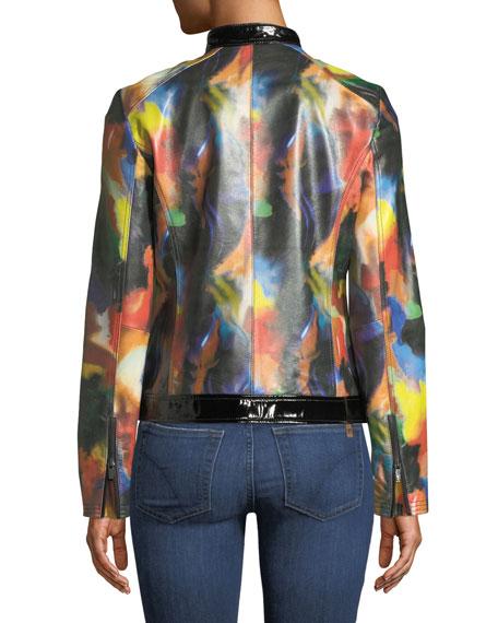Rainbow-Print Leather Moto Jacket