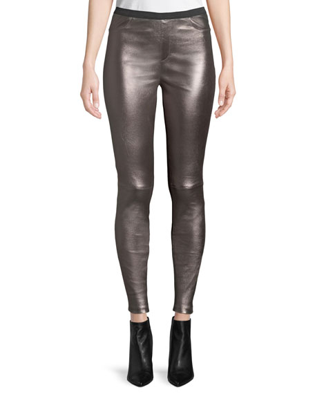 Metallic Leather & Ponte Combo Leggings